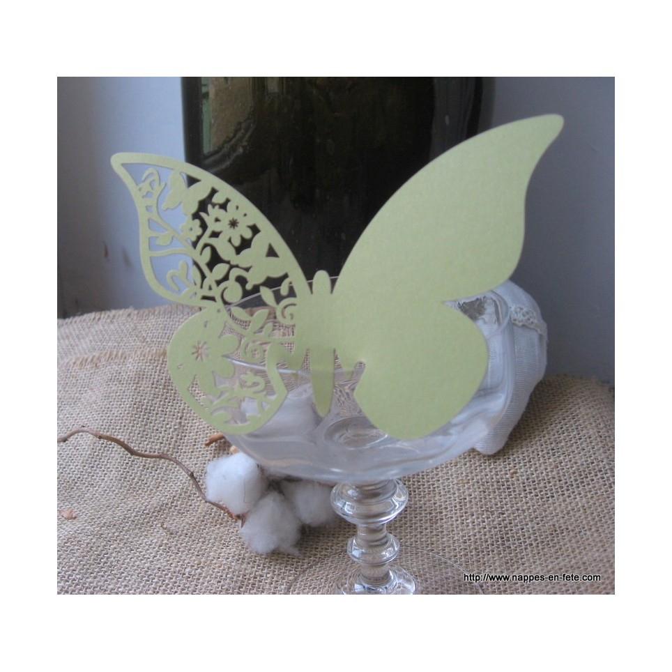 Marque Place Papillon Vert Tilleul En Carton Découpé destiné Etiquette Papillon A Imprimer