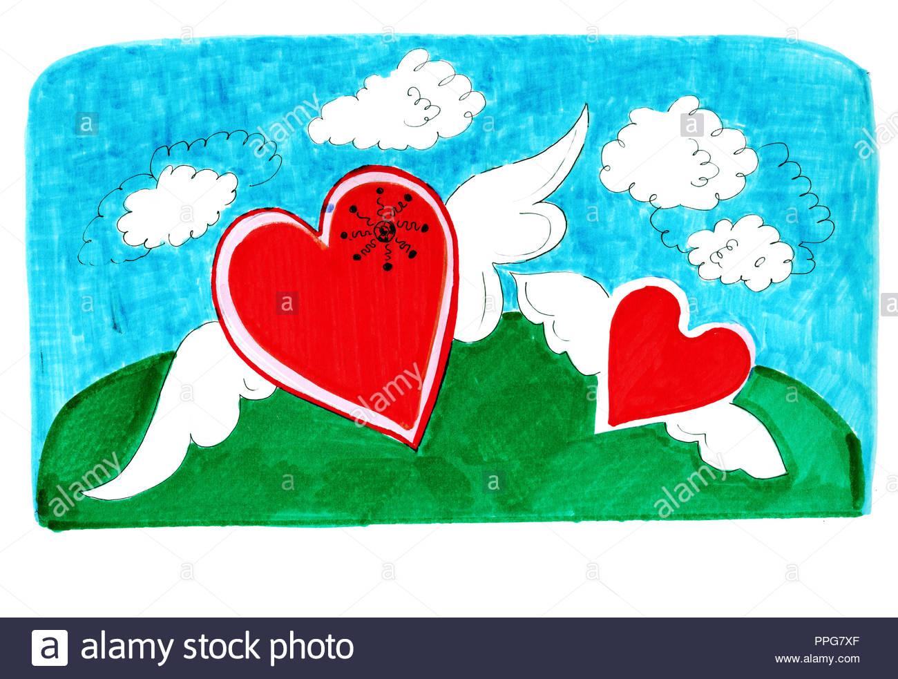 Marqueurs À La Main Et Les Peintures D'un Cœur Dessiné En avec Association De Formes