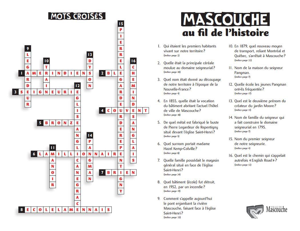 Mascouche Au Fil De L'histoire - Ville De Mascouche à Mots Croises Ca