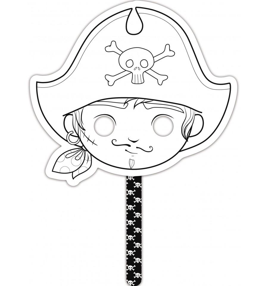 Masque À Colorier Graffy Stick Pirate - Avenue Mandarine tout Masque Enfant A Colorier
