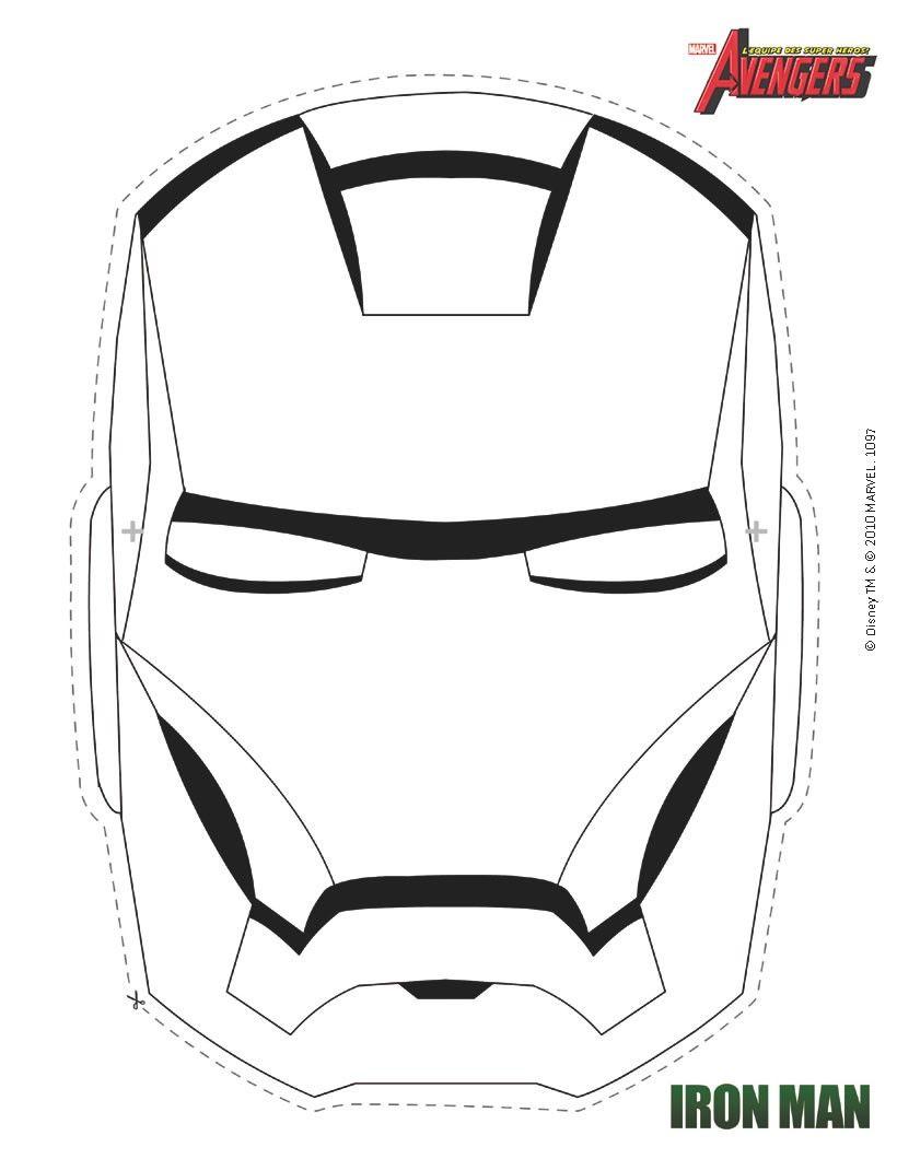 Masque À Imprimer : Masque D'iron Man À Colorier   Coloriage pour Masque Spiderman A Imprimer