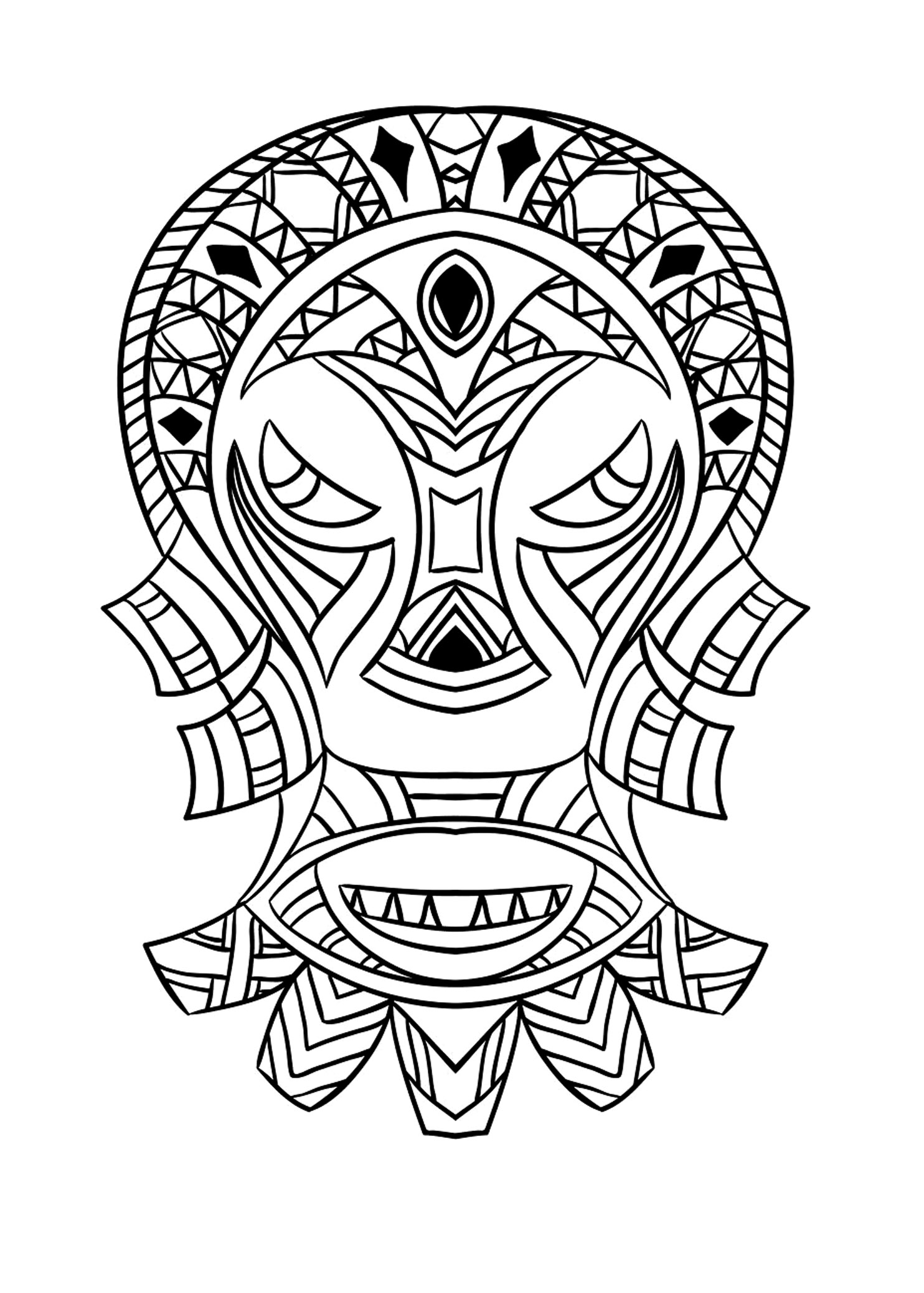 Masque Africain 4 - Afrique - Coloriages Difficiles Pour Adultes à Dessin Africain A Colorier