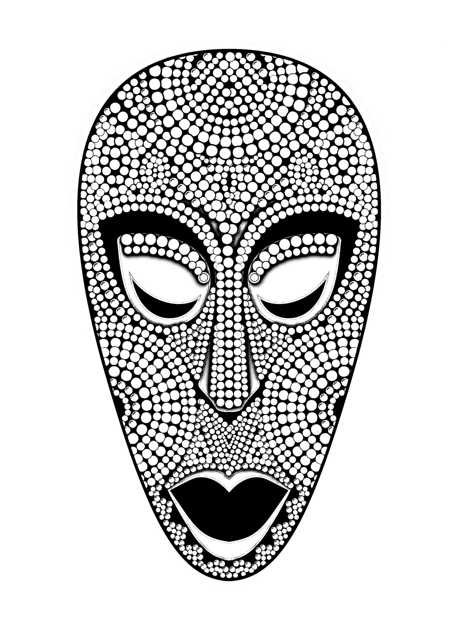 Masque Africain - Afrique - Coloriages Difficiles Pour Adultes serapportantà Dessin Africain A Colorier