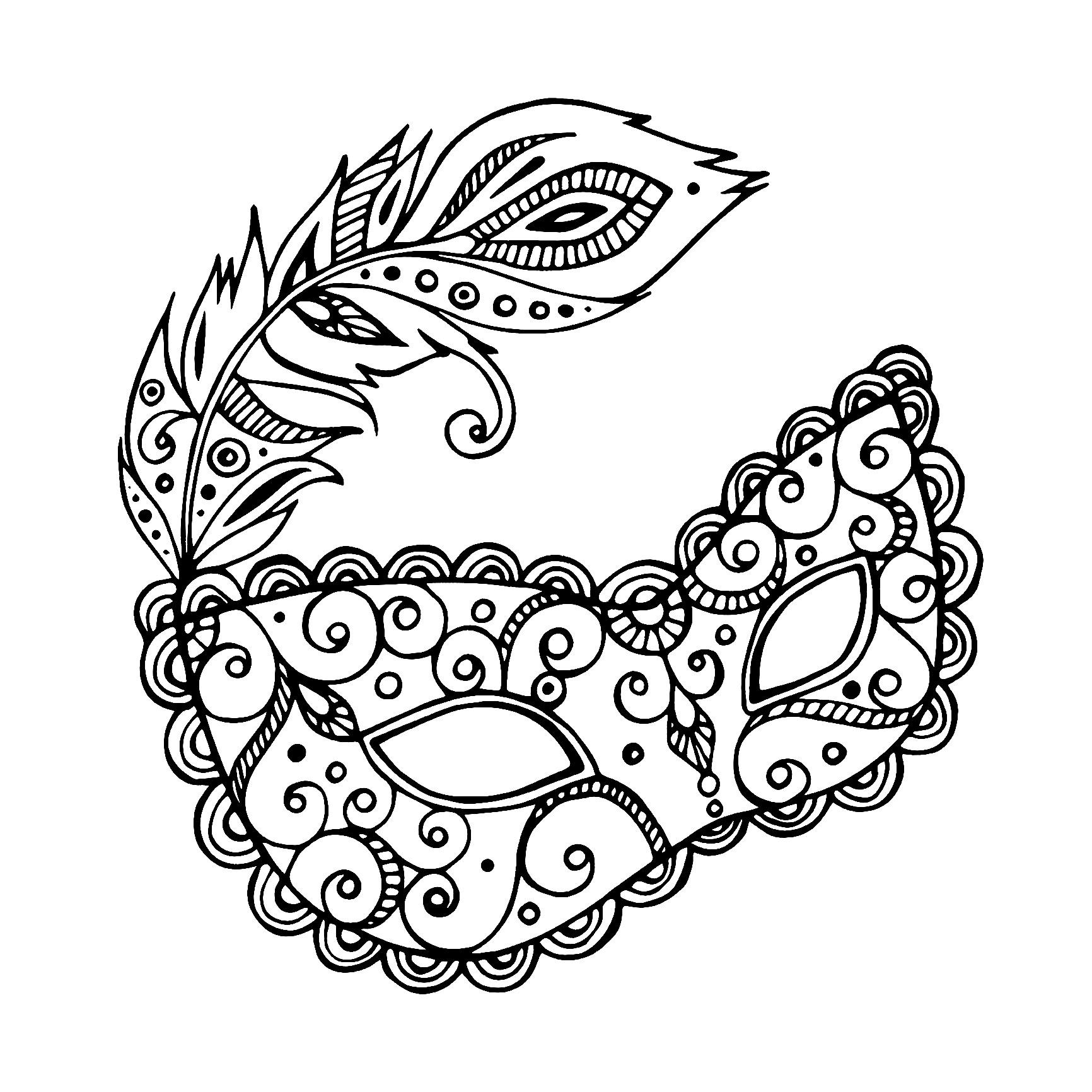 Masque Carnaval Simple - Carnaval - Coloriages Difficiles concernant Coloriage De Carnaval A Imprimer Gratuit