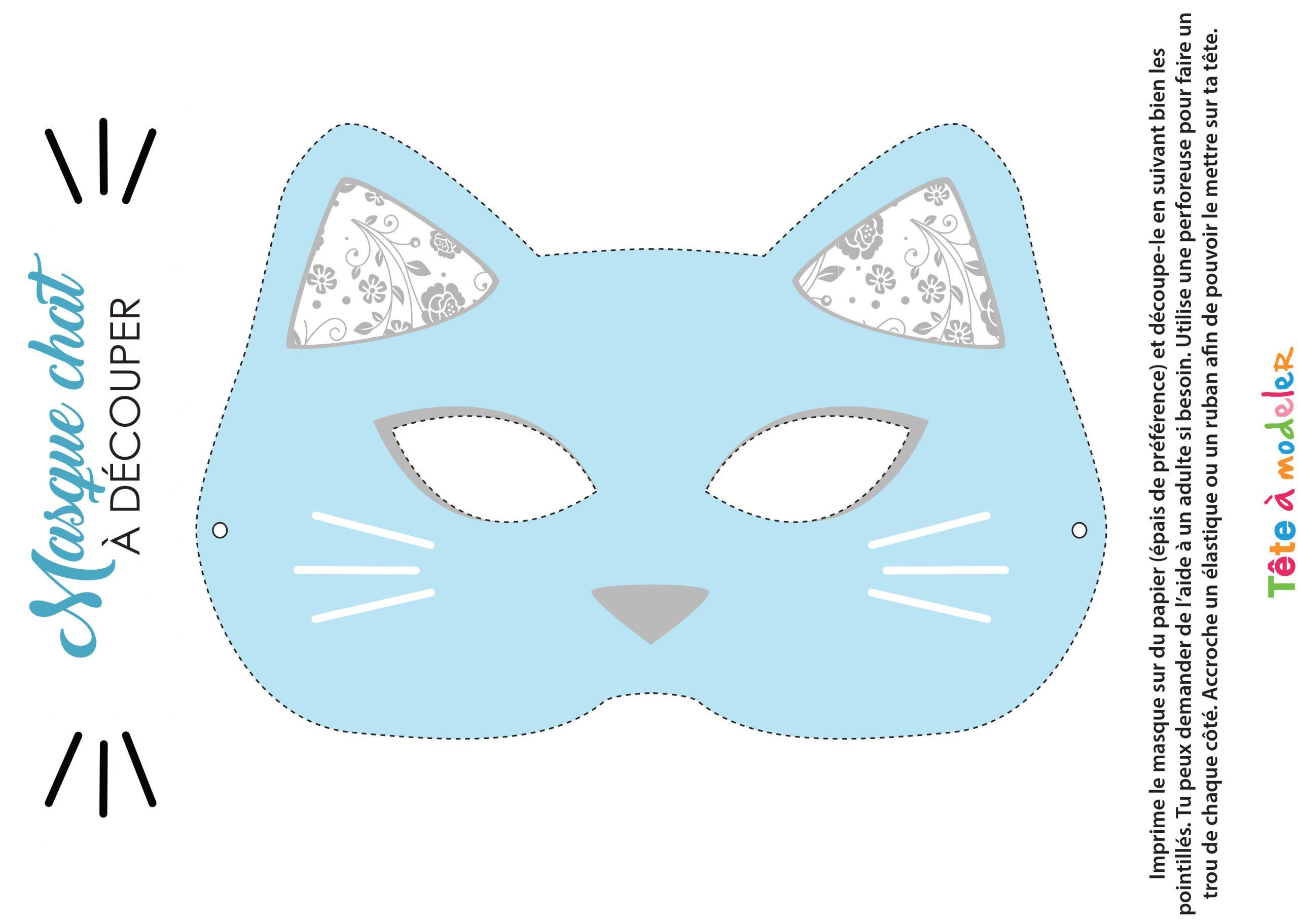 Masque De Chat À Imprimer Avec Tête À Modeler destiné Masque À Imprimer Animaux