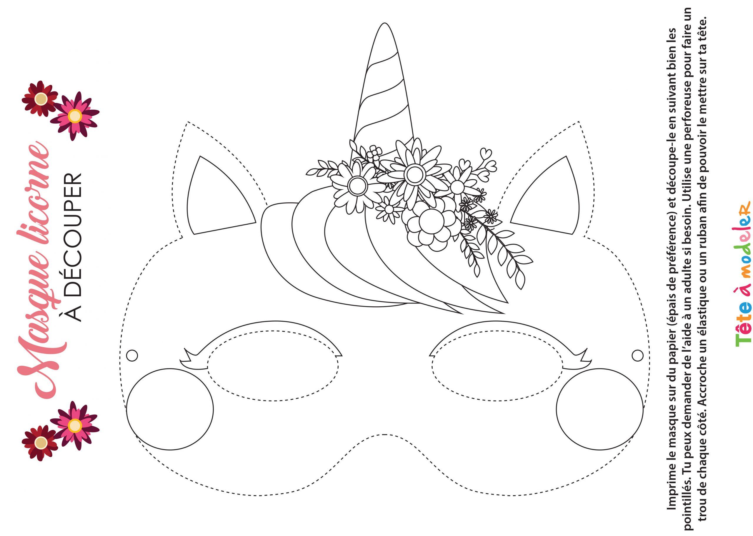 Masque De Licorne À Colorier Avec Tête À Modeler à Decoupage A Imprimer Gratuit