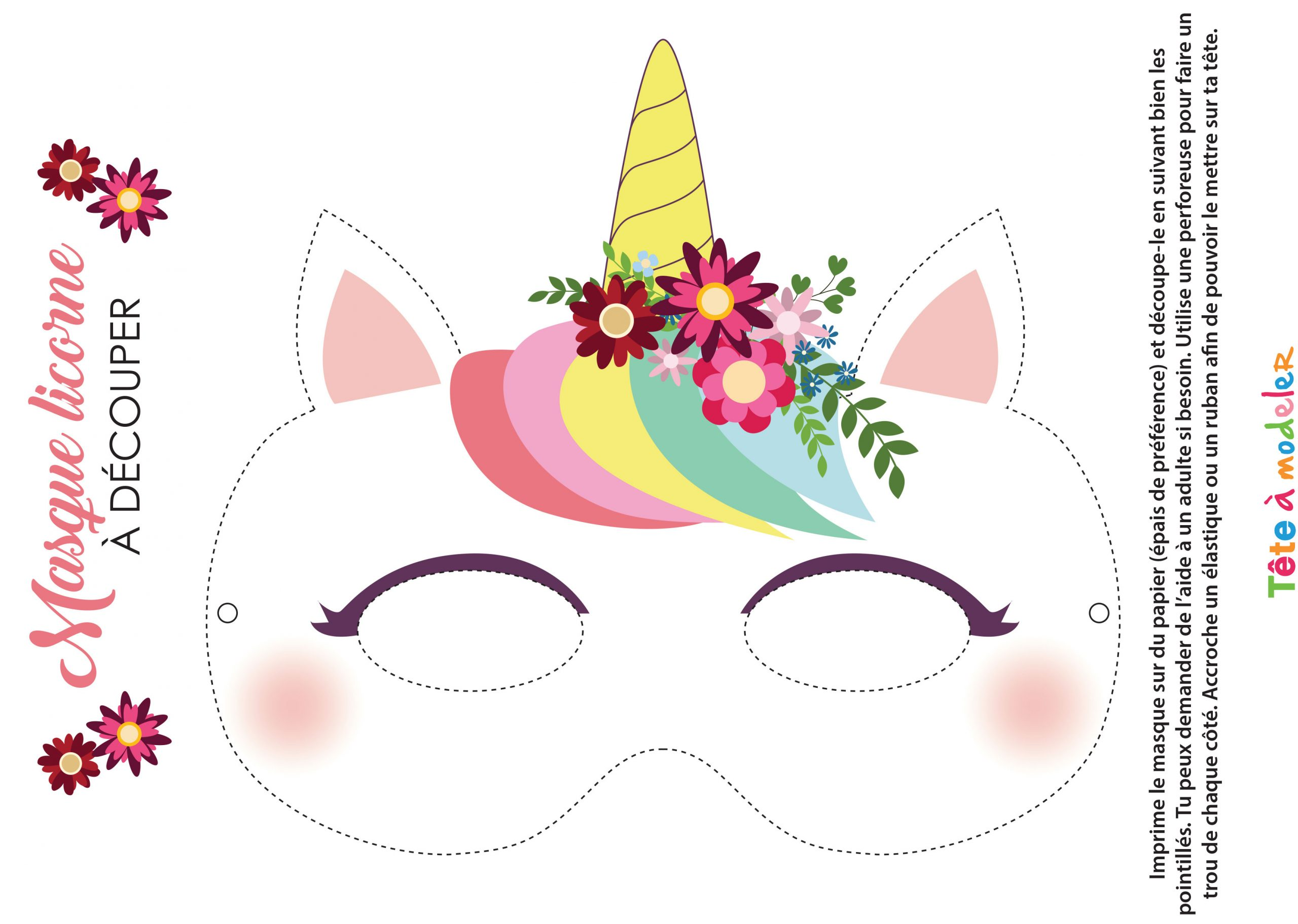 Masque De Licorne À Imprimer Avec Tête À Modeler dedans Activité 3 Ans Imprimer