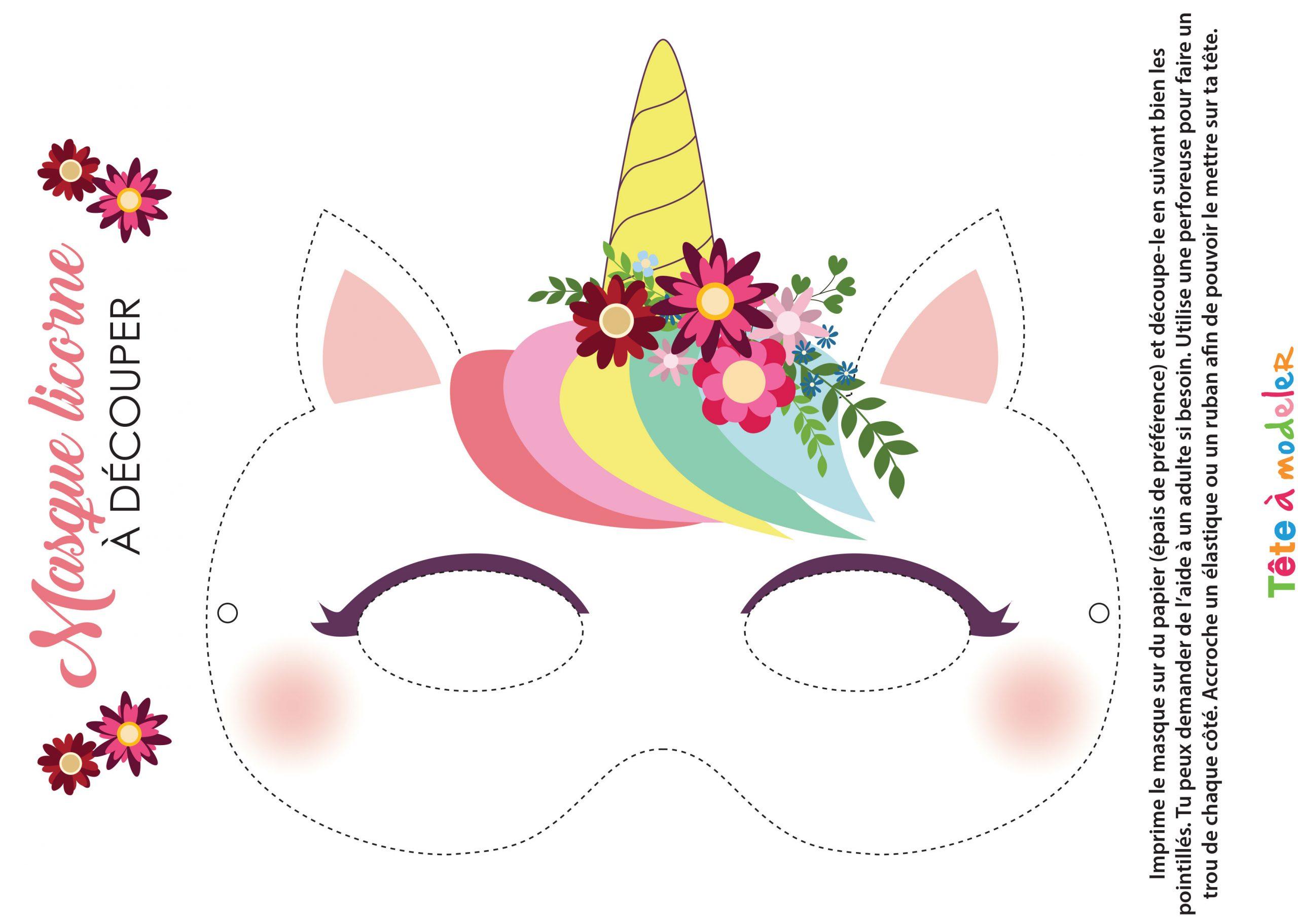 Masque De Licorne À Imprimer Avec Tête À Modeler encequiconcerne Modele Masque De Carnaval A Imprimer