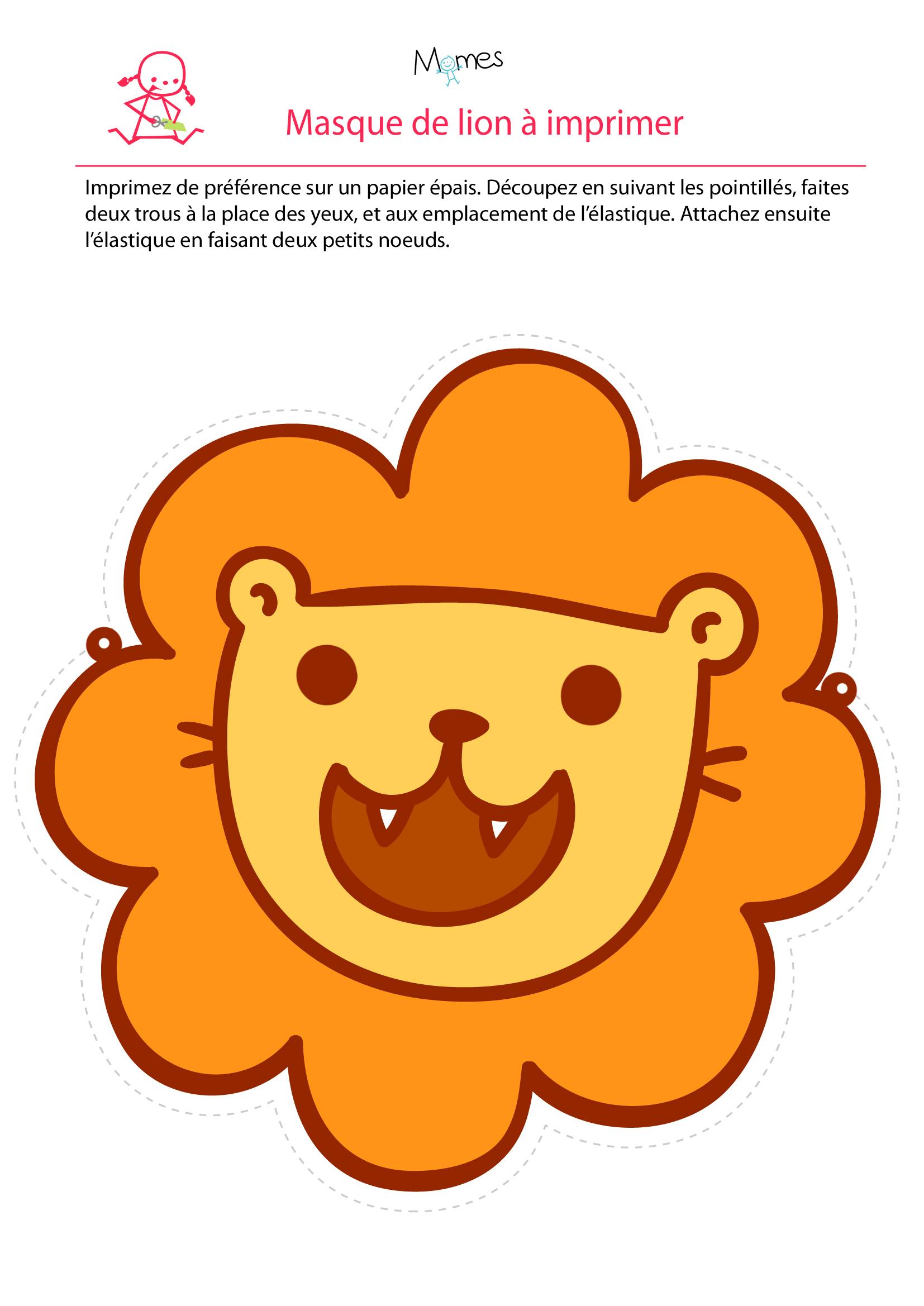 Masque De Lion - Momes à Masque À Imprimer Animaux