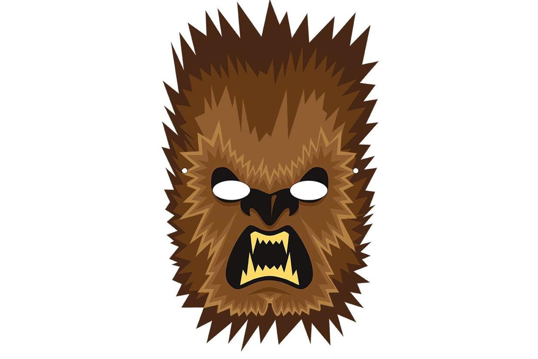 Masque De Loup-Garou Marron Pour Halloween dedans Masque De Loup À Imprimer