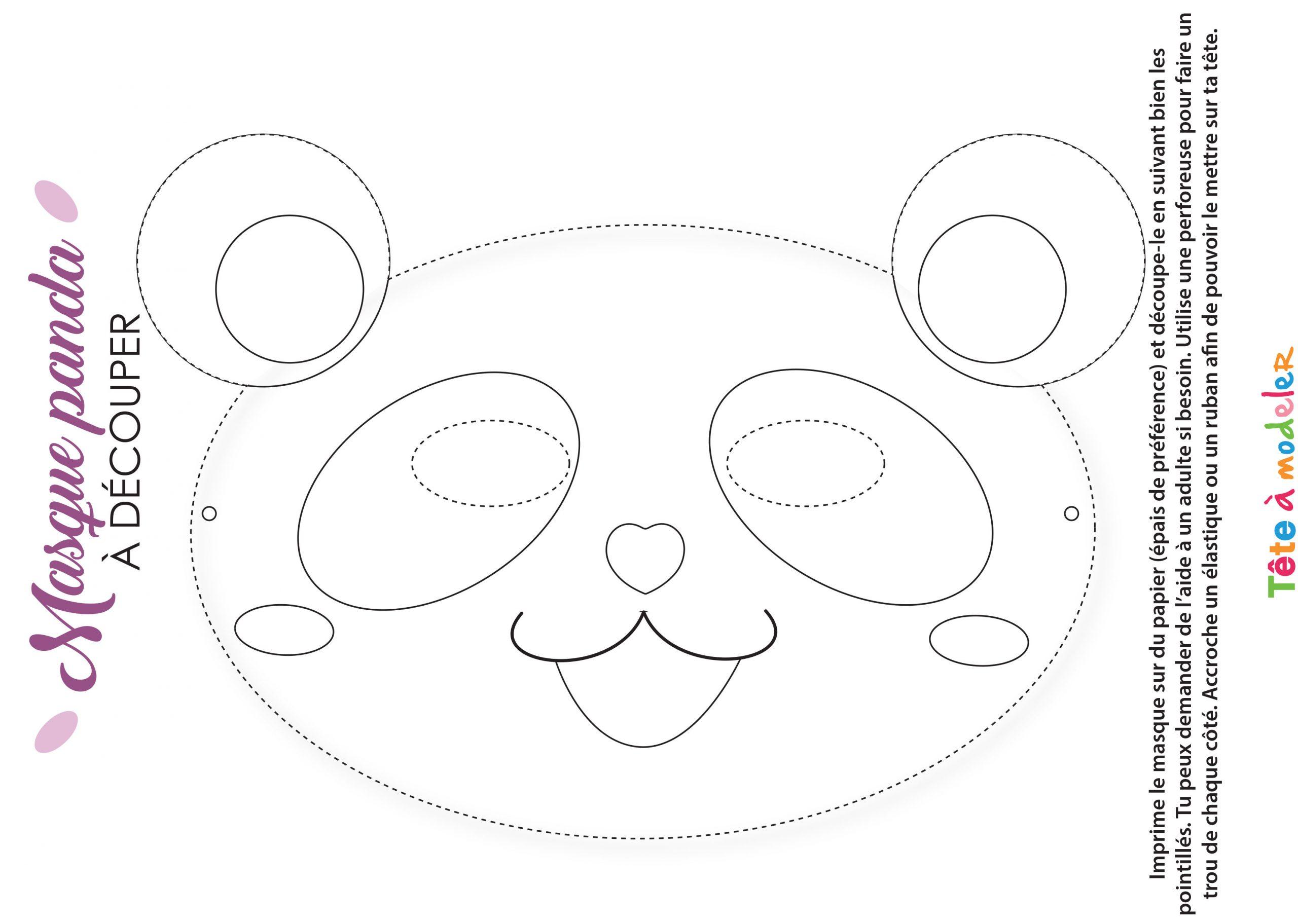 Masque De Panda À Colorier pour Panda À Colorier