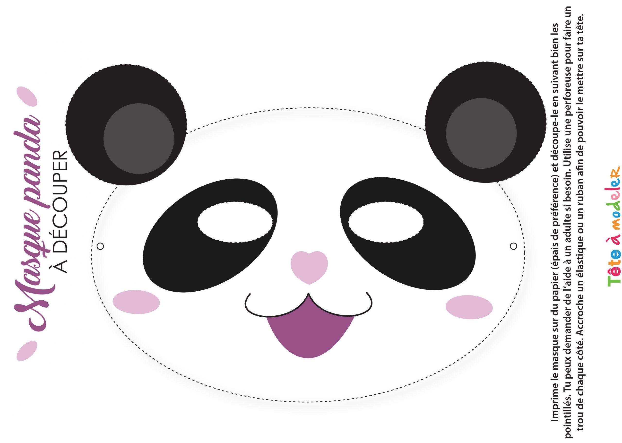 Masque De Panda À Imprimer intérieur Découpage Collage A Imprimer