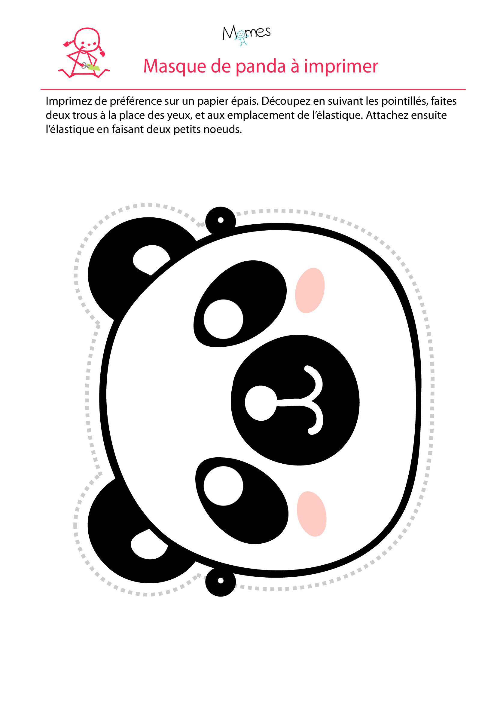 Masque De Panda - Momes à Masque À Imprimer Animaux