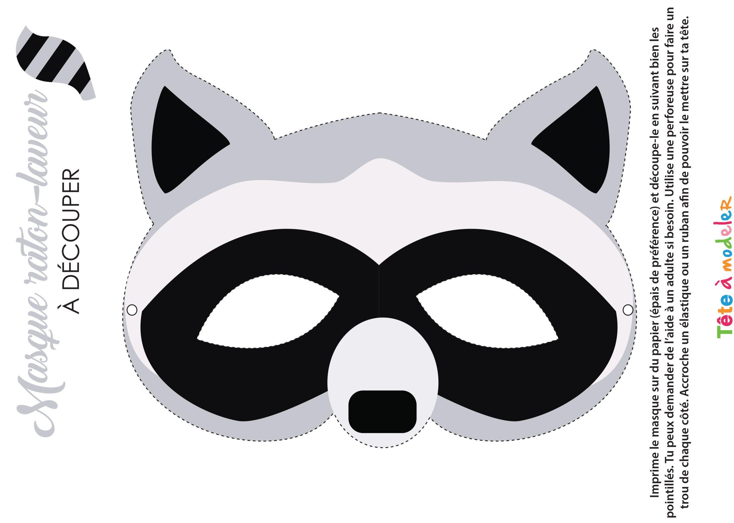 Masque De Raton Laveur À Imprimer à Masque Enfant A Colorier