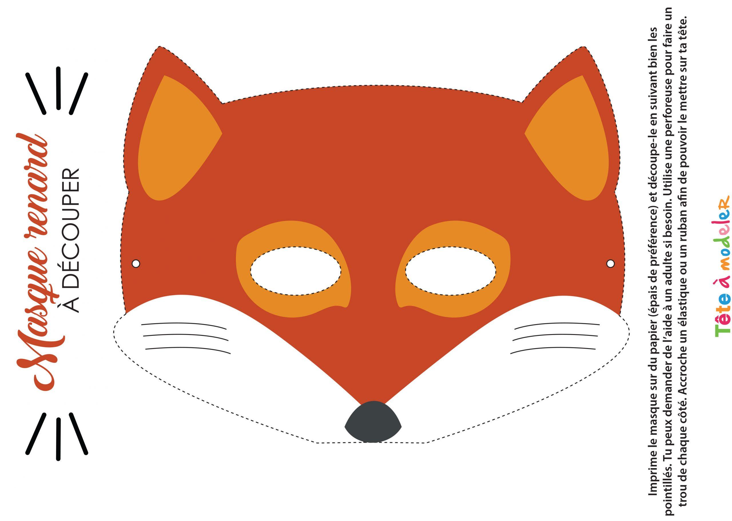 Masque De Renard À Imprimer avec Masques Animaux À Imprimer