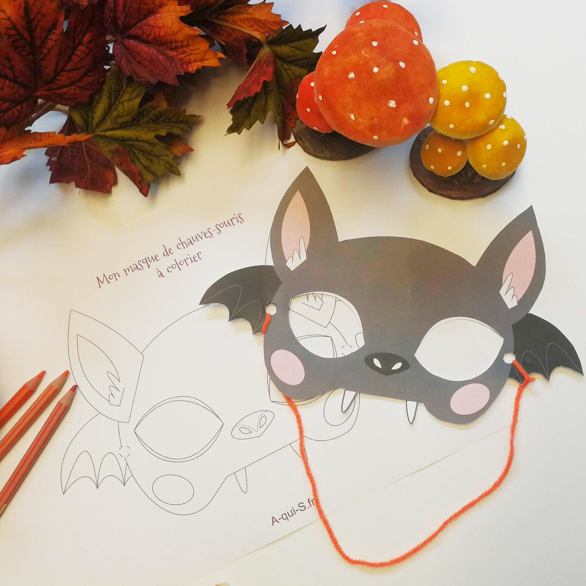 Masque D'halloween À Imprimer : La Chauve-Souris ! pour Masque Enfant A Colorier