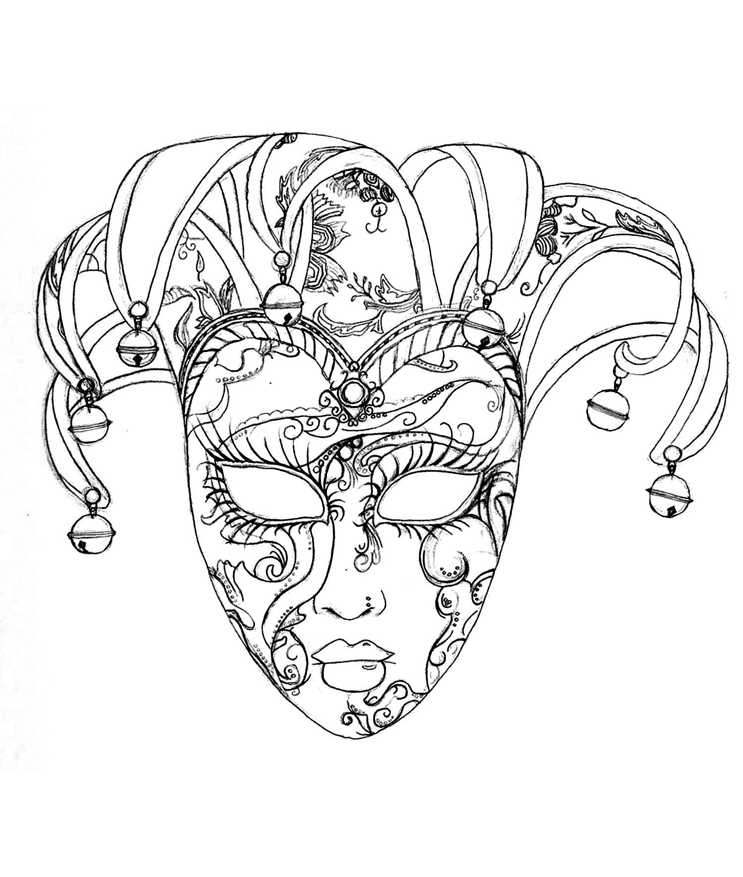 Masque Du Carnaval De Venise - Fêtes - Coloriages Difficiles à Masque Loup A Colorier