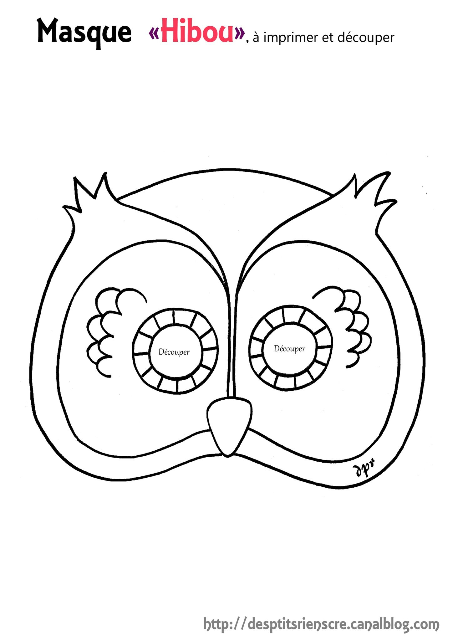 Masque Hibou Copie À Colorier | Masque Hibou, Coloriage à Masque Loup A Colorier