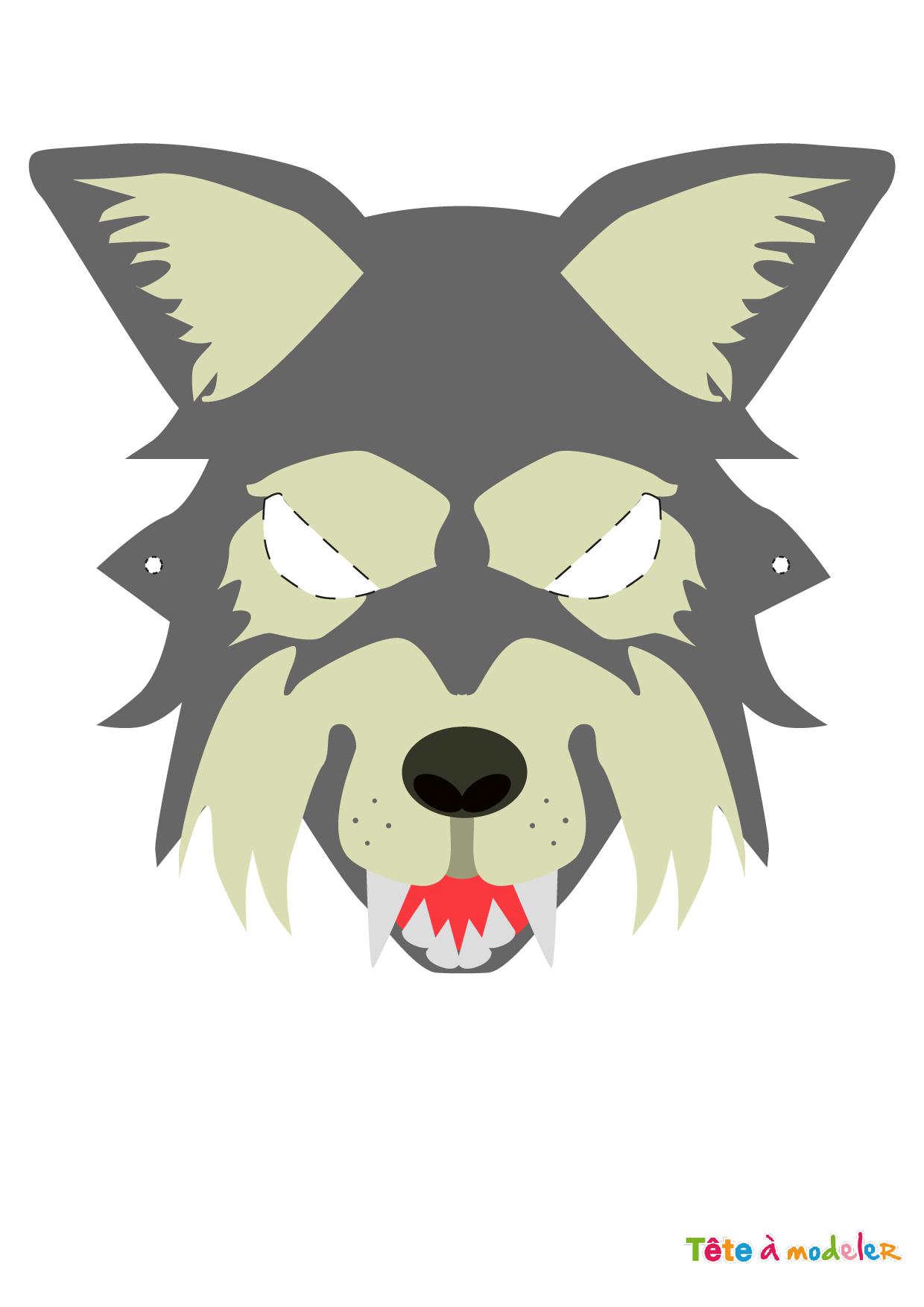 Masque Loup D'halloween À Imprimer Par Tête À Modeler encequiconcerne Masque Loup A Colorier