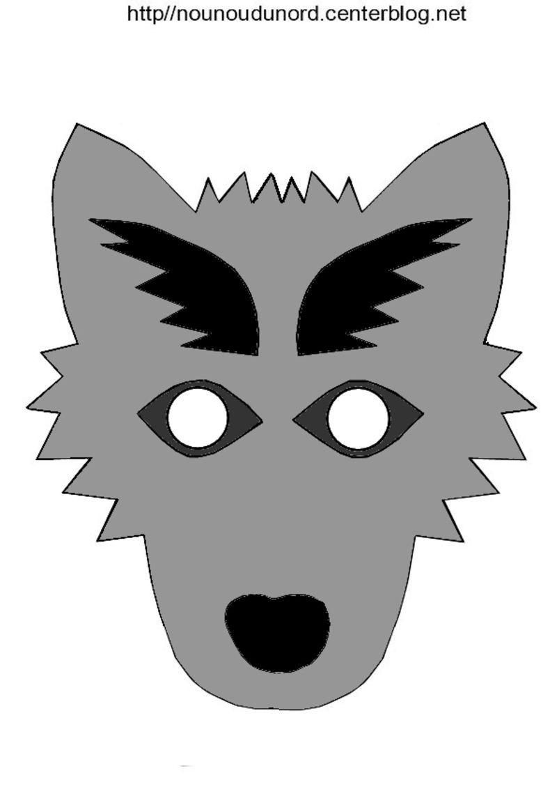 Masque Loup tout Masque Loup A Colorier