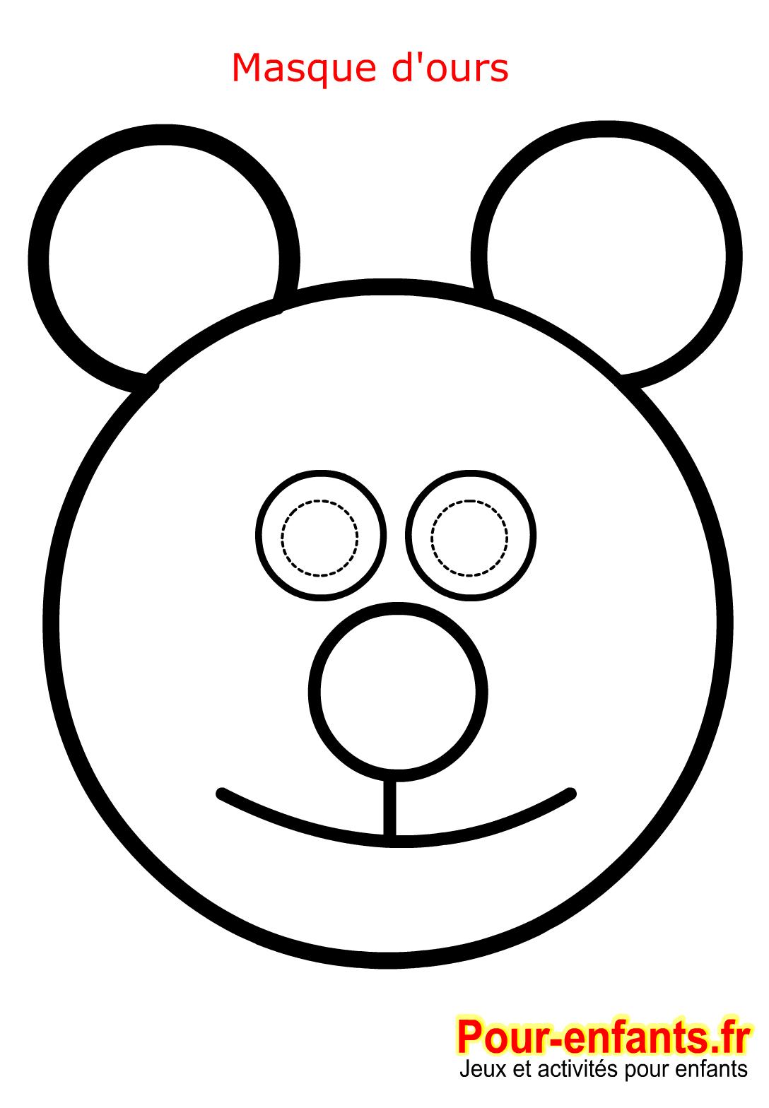 Masque Ours De Carnaval Coloriage Enfant Fabrication Masques serapportantà Masque Enfant A Colorier