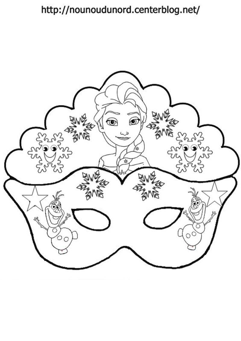 Masque Reine Des Neiges Elsa, Olaf | Masque A Imprimer avec Coloriage De Carnaval A Imprimer Gratuit