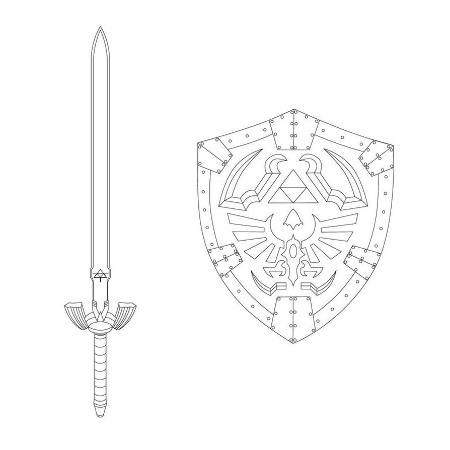 Master Sword And Hylian Shield - 2014 | Coloriage, Zelda, Dessin tout Coloriage D Épée