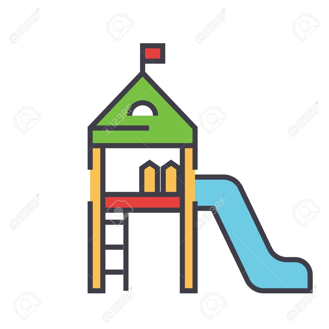 Matériel De Jeux Pour Enfants, Maison D'enfants, Concept De Maternelle.  Icône De Vecteur De Ligne. Avc Modifiable Illustration Linéaire Plat Isolé  Sur intérieur Jeux Maternelle En Ligne