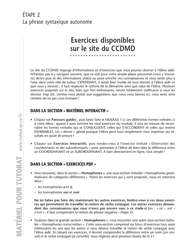 Matériel Pour Tutorat Exercices Disponibles Sur Le Site Du destiné Exercice Grande Section En Ligne