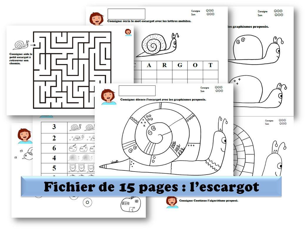 Maternelle-Fichier Multiactivites-Escargot | Escargot tout Jeux Gratuit Escargot