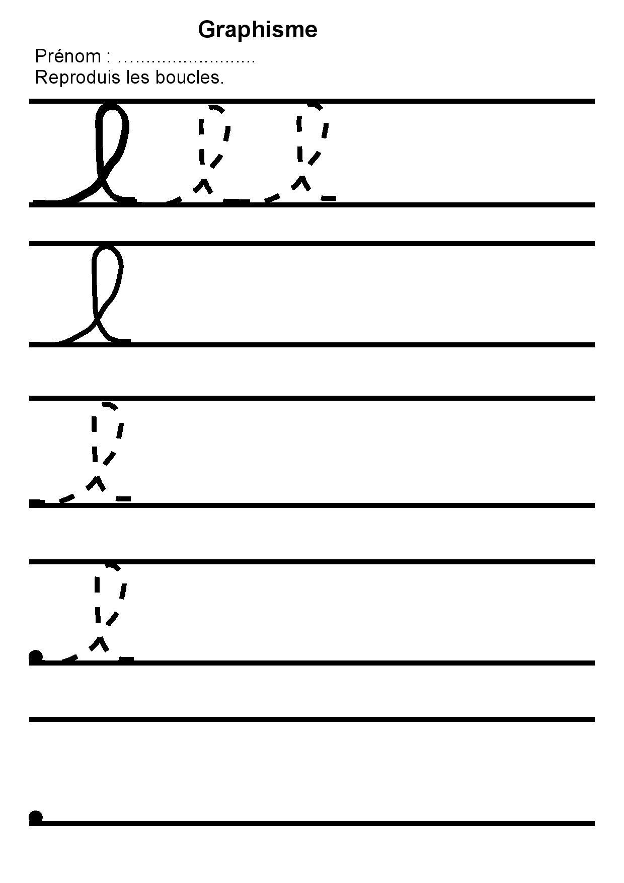Maternelle Graphisme 2,reproduire Des Boucles L,lettre L encequiconcerne Apprendre À Écrire Les Lettres Maternelle