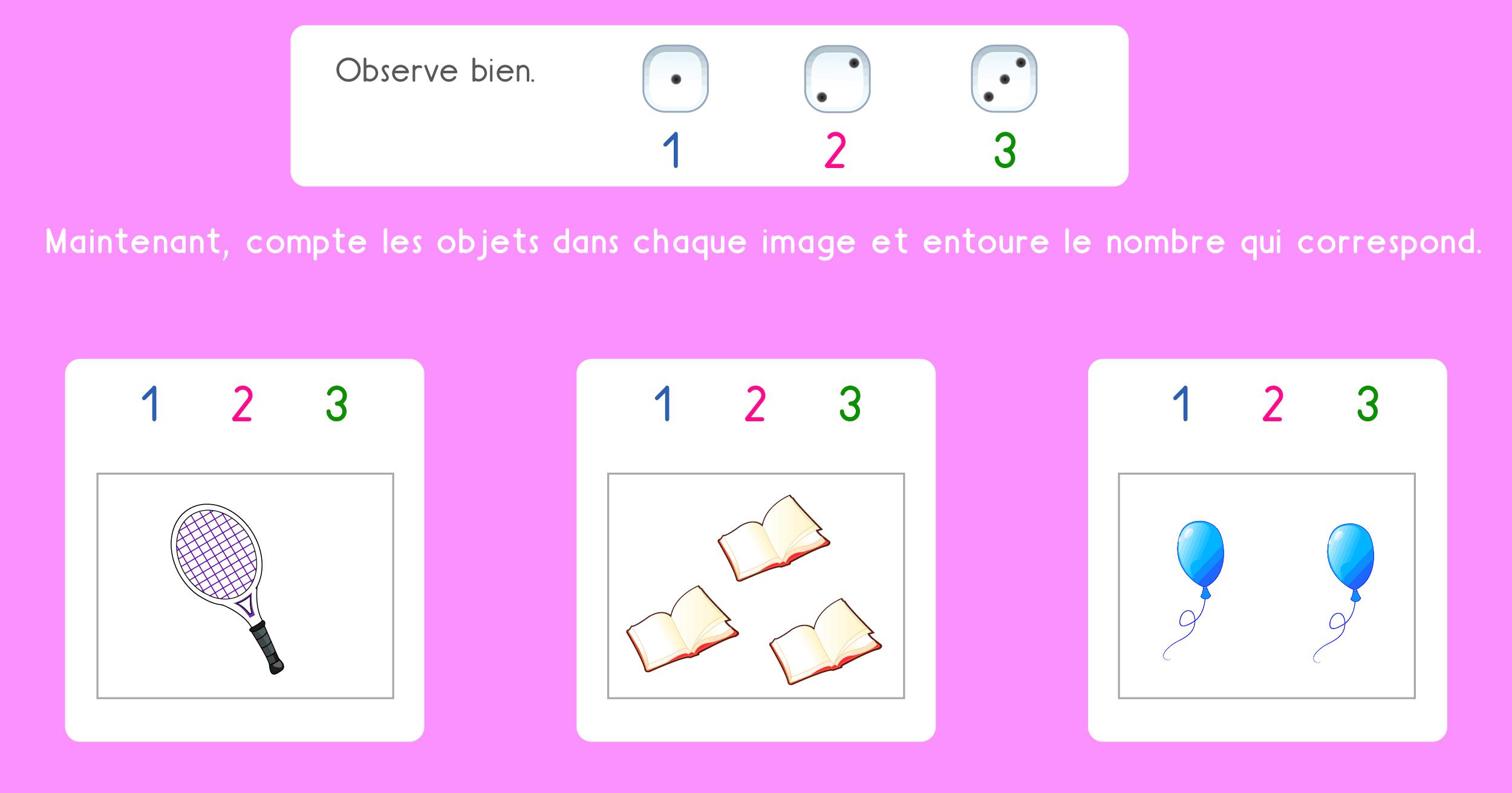 Math Ps - Dénombrement Des Collections De 1 À 3 Objets intérieur Exercice Maternelle Petite Section