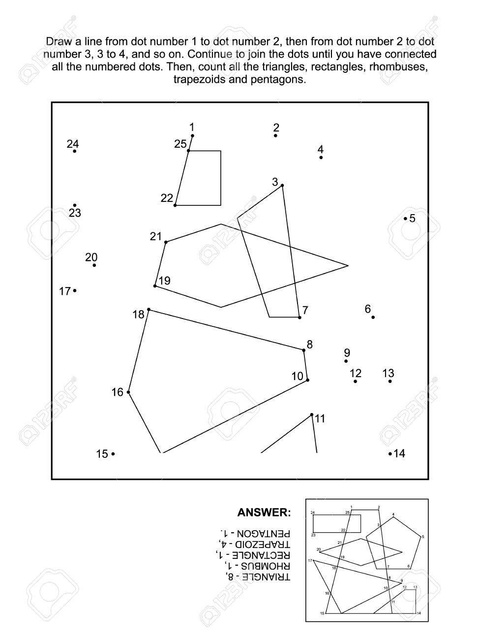 Math Relier Les Points Image Jeu De Puzzle Et De Comptage (Adapté Aussi  Bien Pour Les Enfants Et Les Adultes): Joignez-Vous Aux Points, Compte Tous dedans Points À Relier Adulte