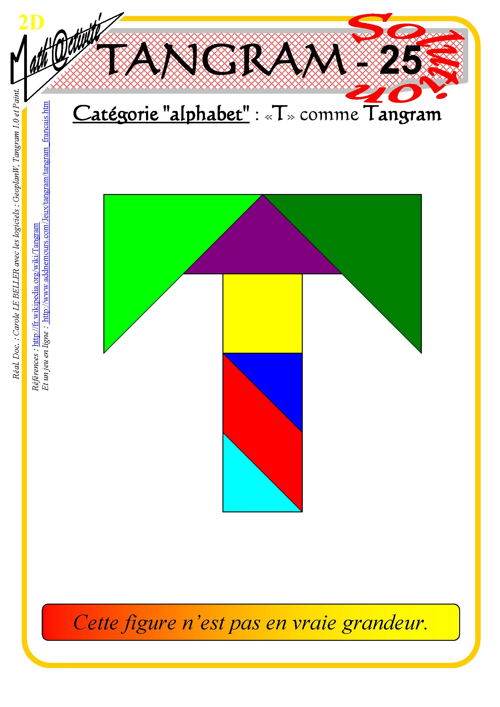 Math'@ctivité 2D : Tangram concernant Jeu De Tangram À Imprimer