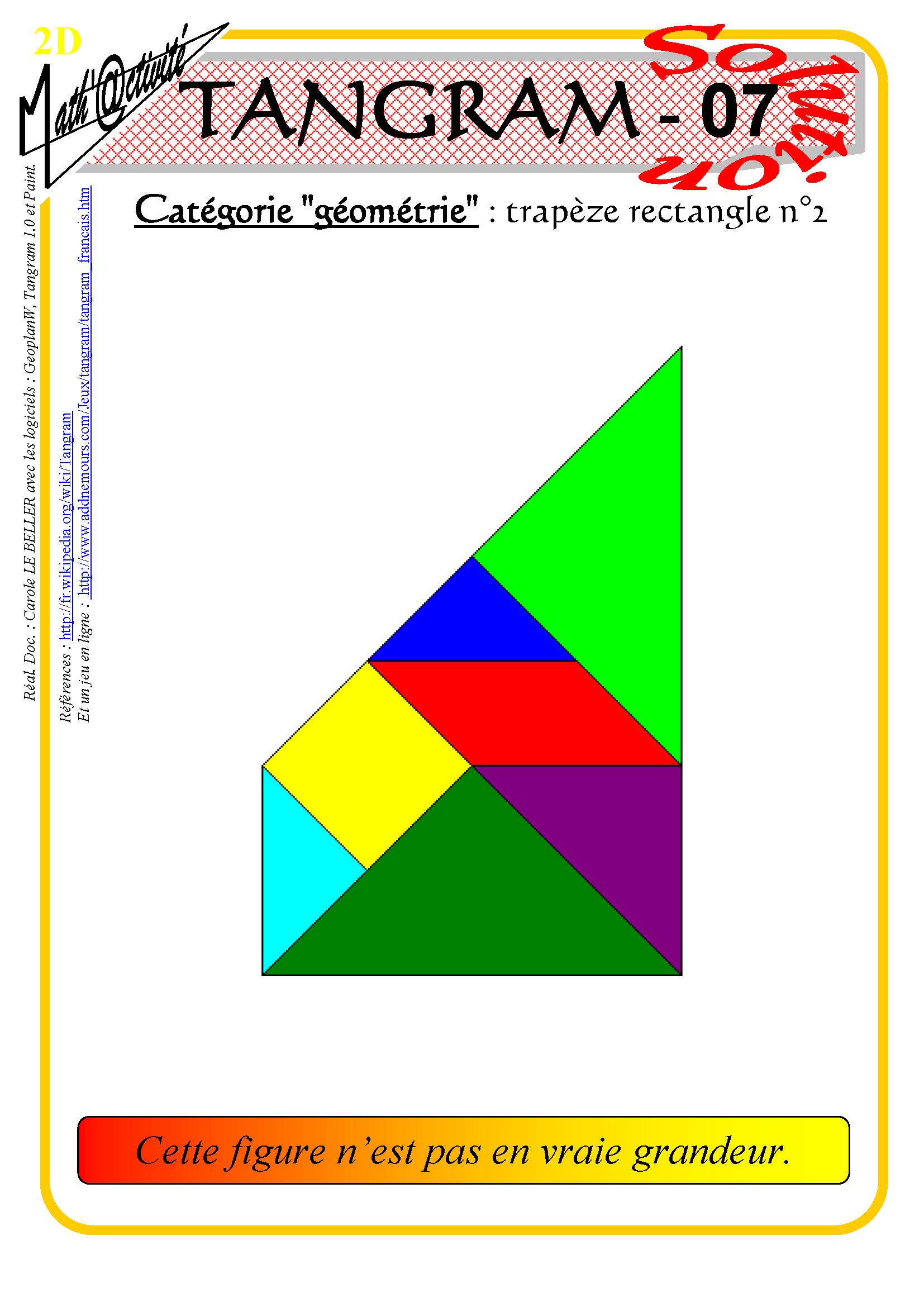 Math'@ctivité 2D : Tangram concernant Tangram Modèles Et Solutions