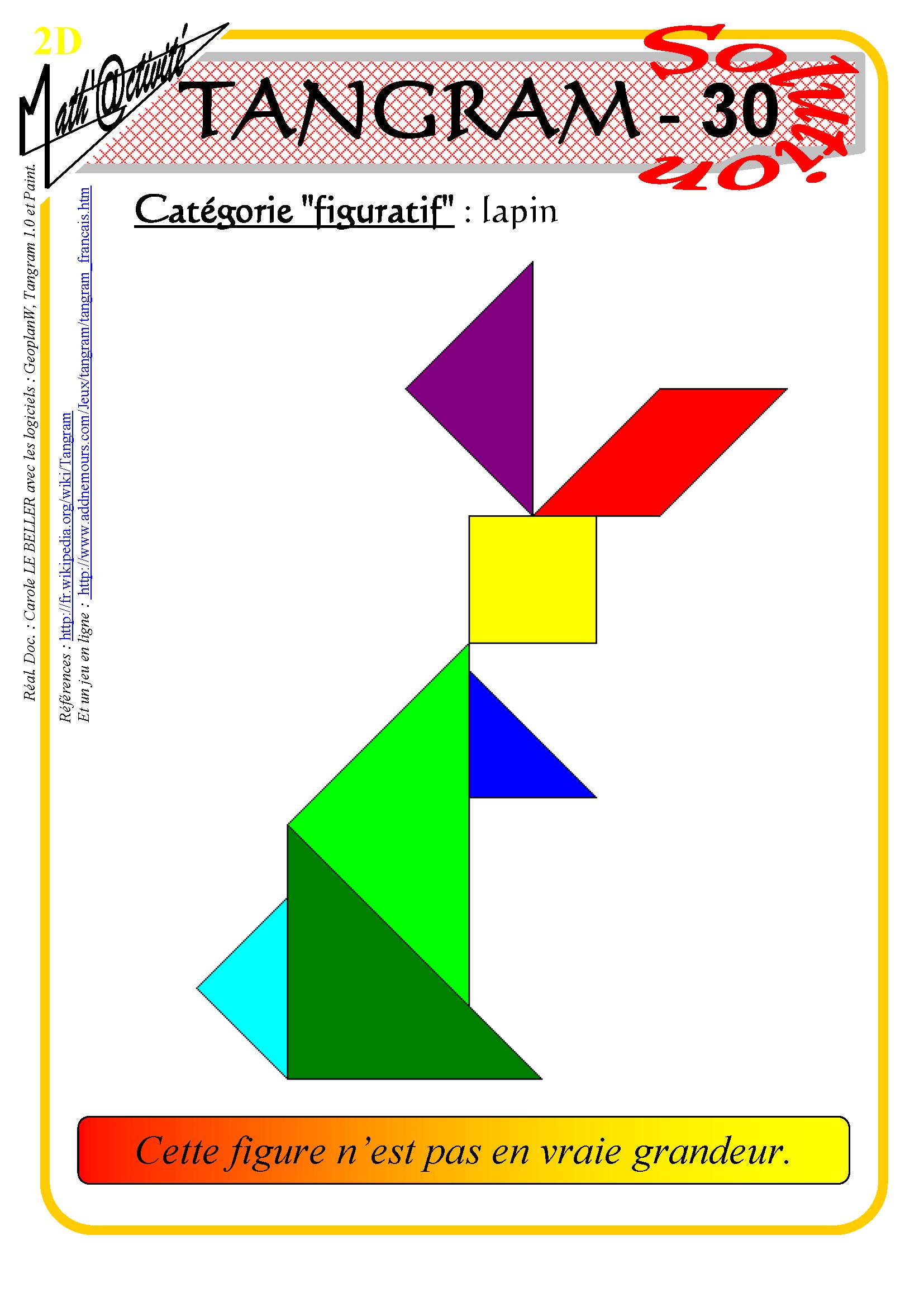 Math'@ctivité 2D : Tangram dedans Tangram Lapin