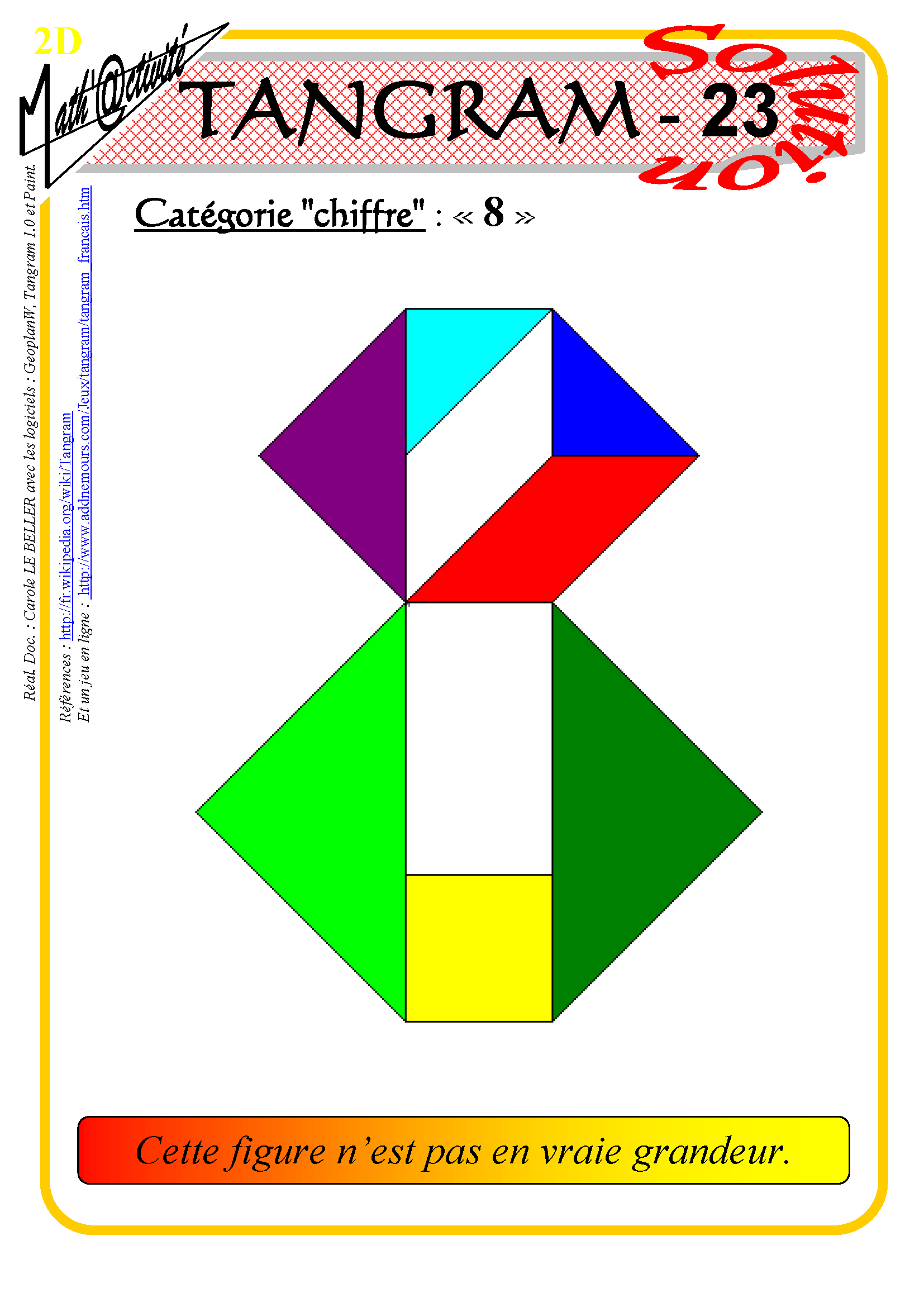 Math'@ctivité 2D : Tangram destiné Tangram Modèles Et Solutions