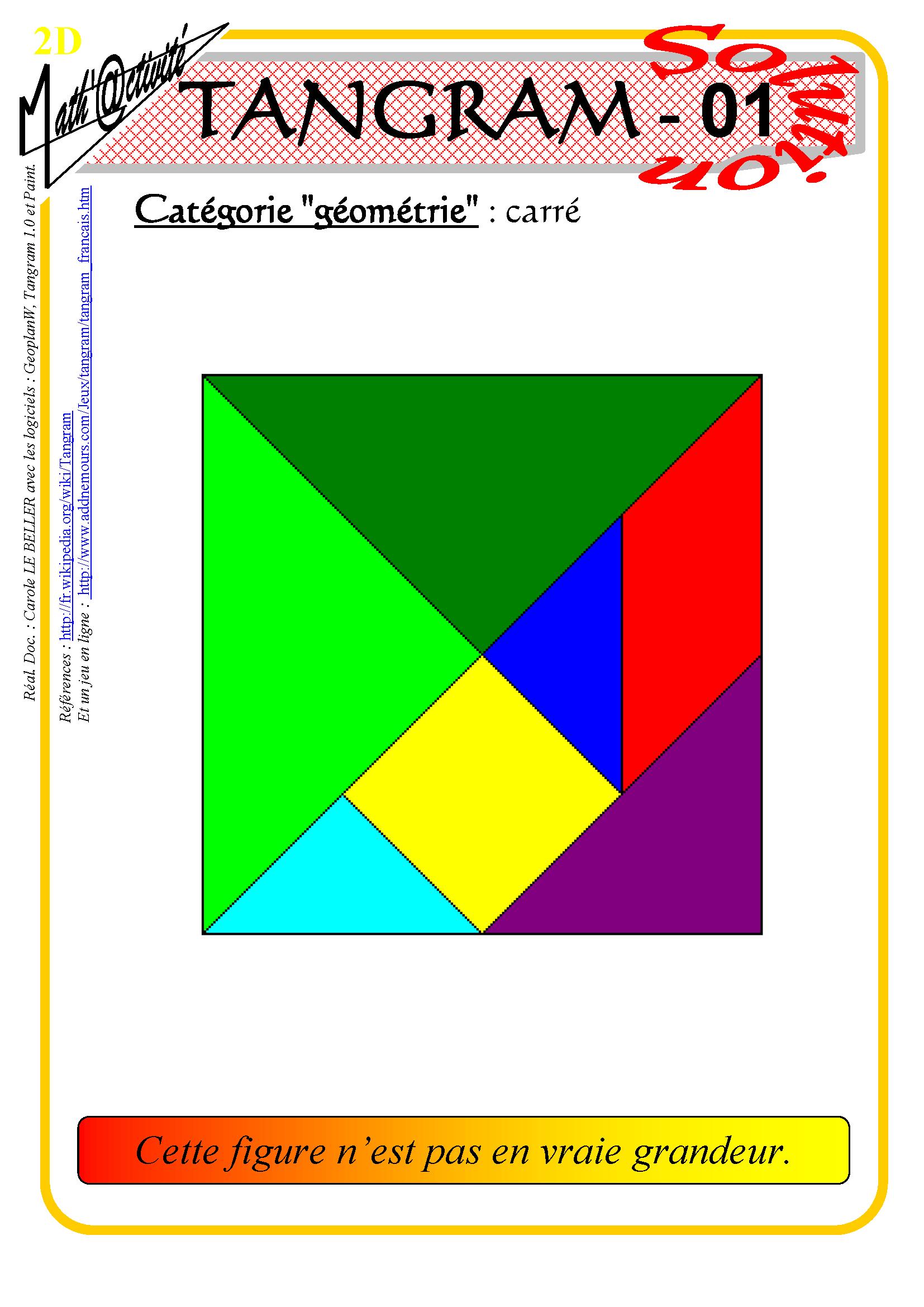 Math'@ctivité 2D : Tangram encequiconcerne Tangram Carré