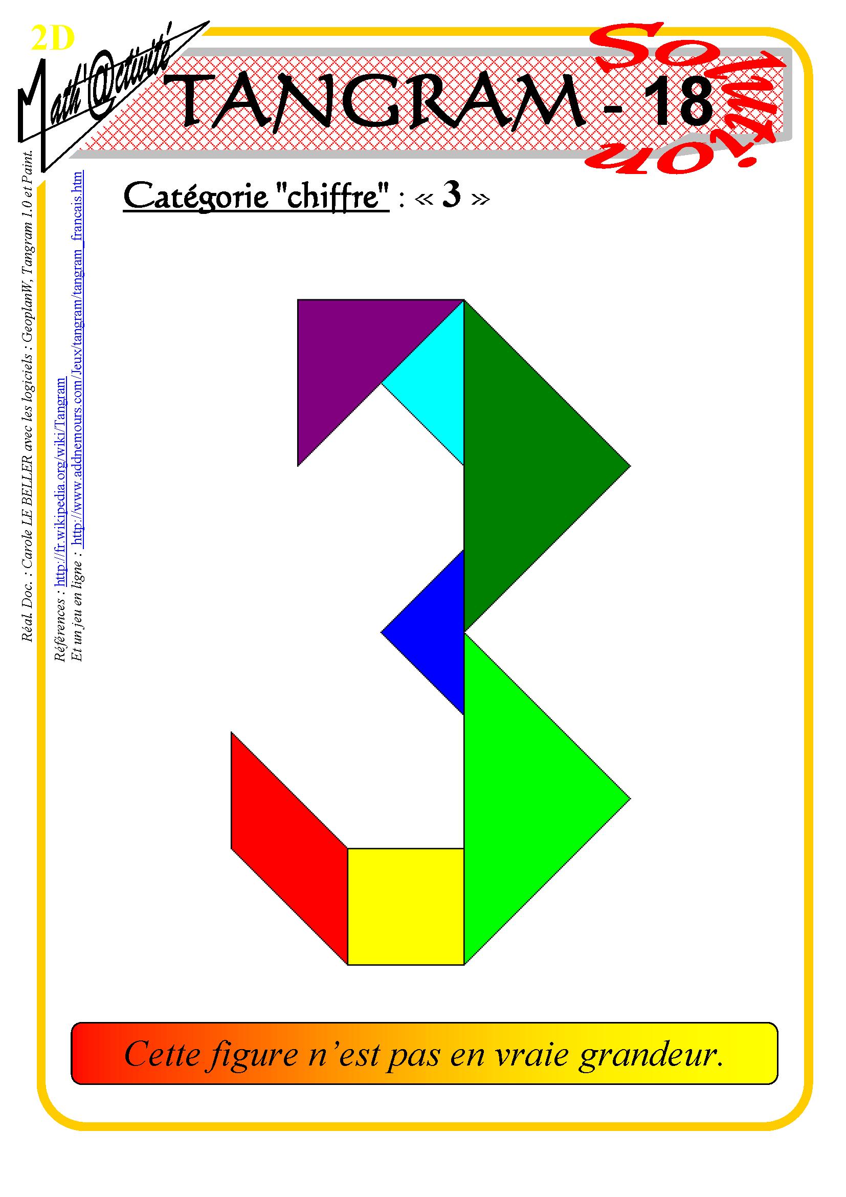 Math'@ctivité 2D : Tangram intérieur Jeu De Tangram À Imprimer
