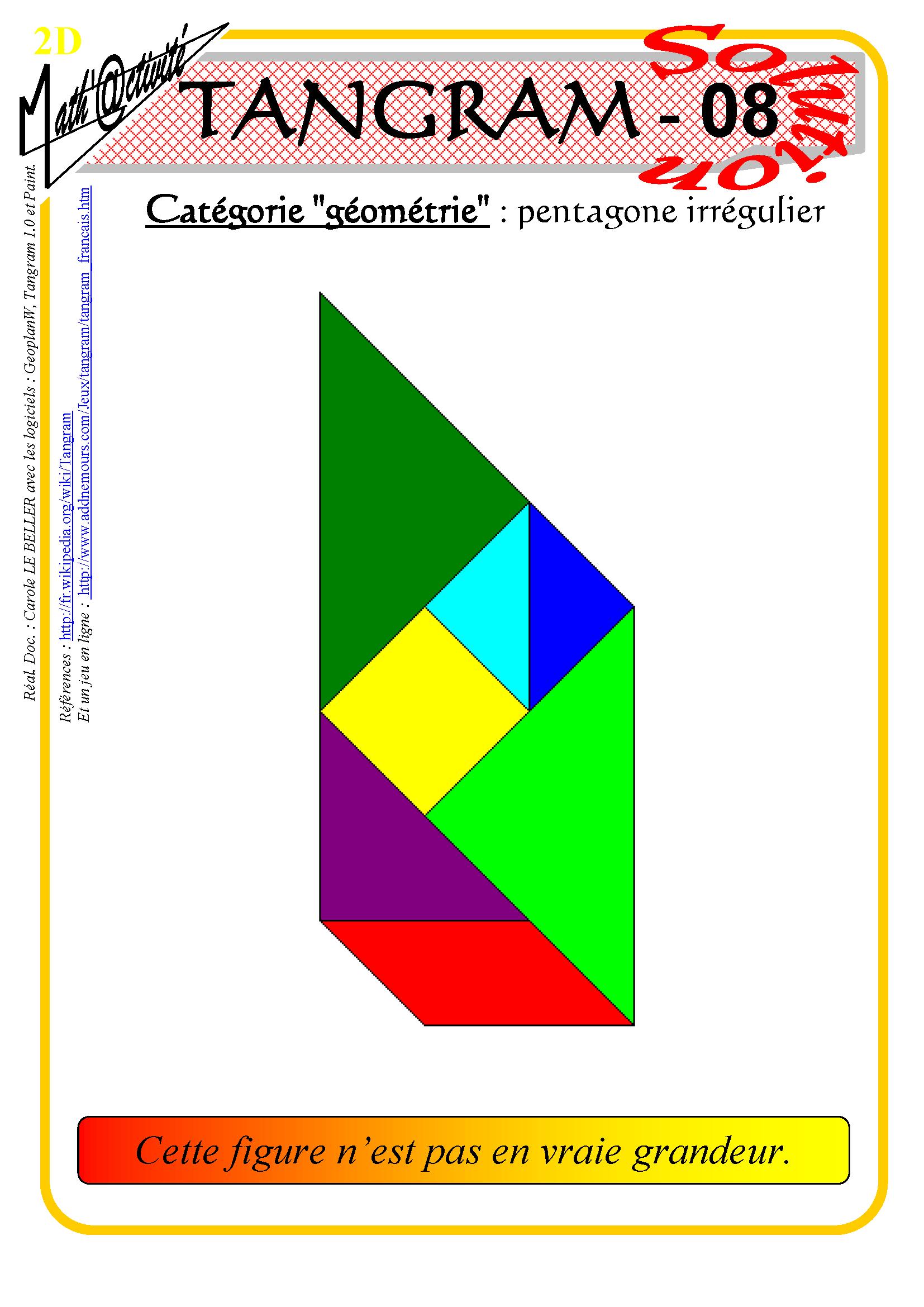Math'@ctivité 2D : Tangram tout Jeu De Tangram À Imprimer