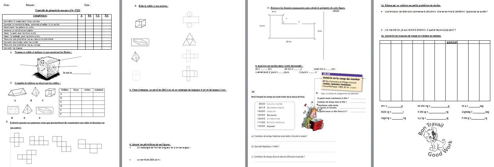 Mathématiques : Évaluation – Contrôle De Géométrie/mesure avec Symétrie Cm1 Évaluation