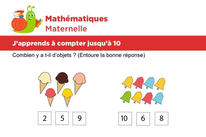 Mathématiques Fiche 3, J'apprends À Compter Jusqu'à 10 avec Apprendre A Compter Maternelle