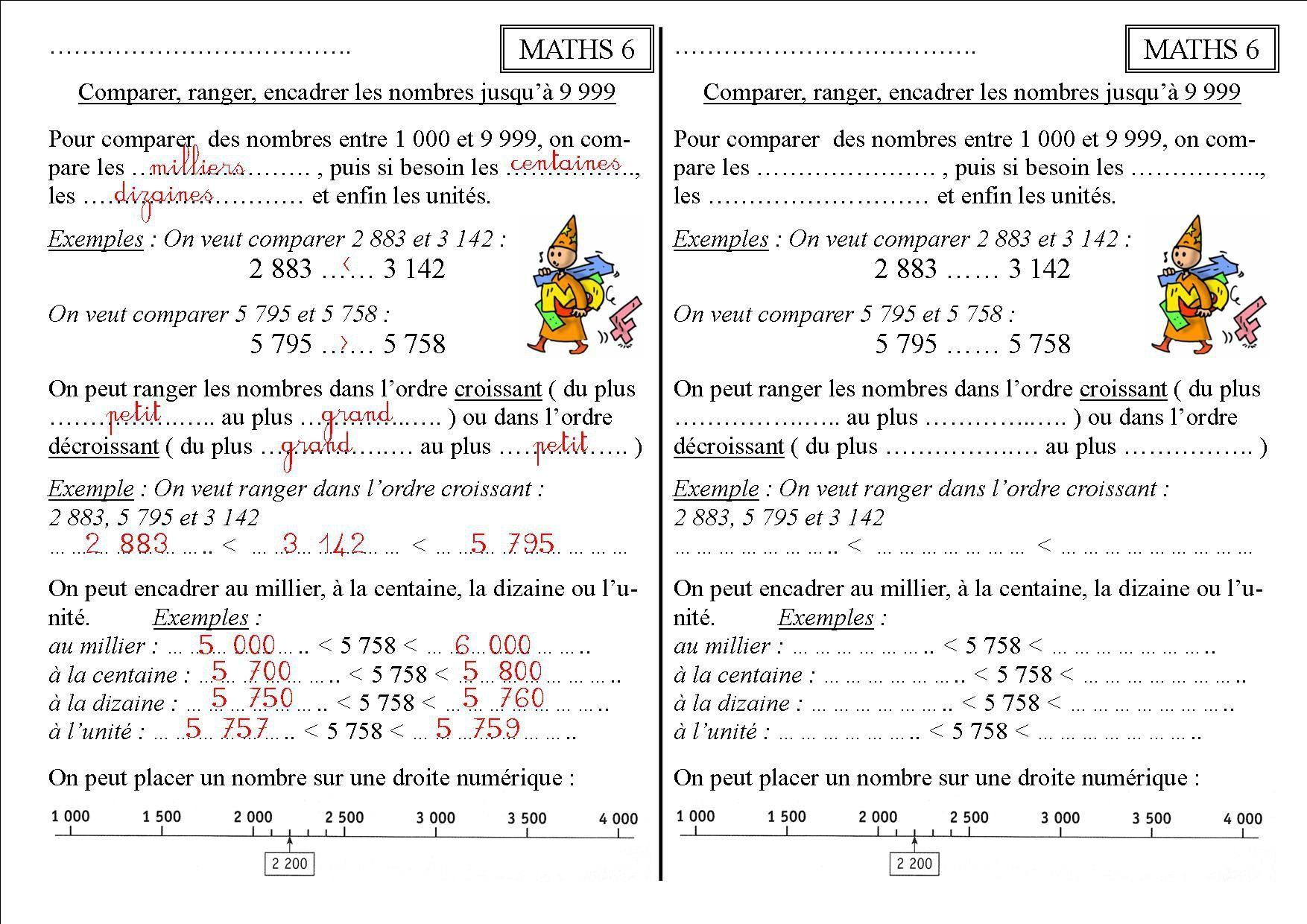 Maths 6 Ce2 : Comparer, Ranger, Encadrer Les Nombres De 1 concernant Cours Ce2 A Imprimer