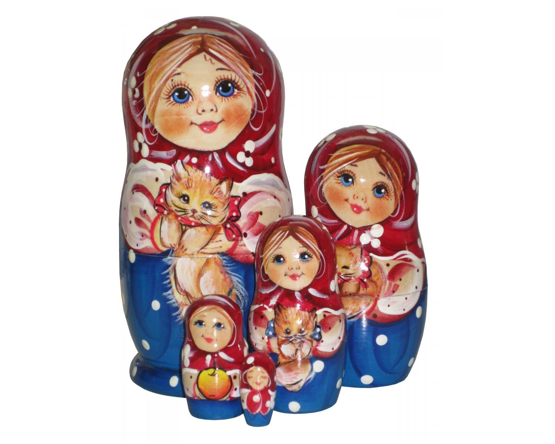 Matriochka Avec Chat - Poupées Russes Peintes À La Main En destiné Nom Poupée Russe