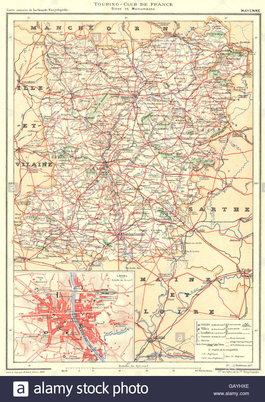 Mayenne: Département. Inset City Town Map Plan Of Laval avec Carte Avec Departement