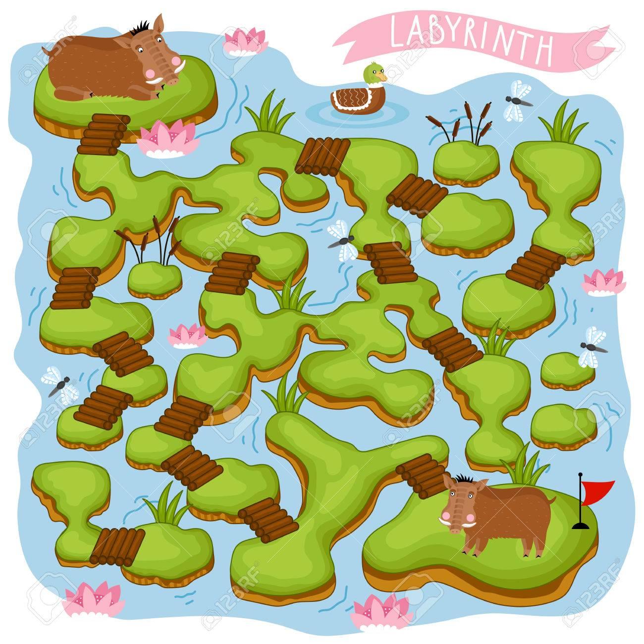 Maze Vecteur, Jeu De Labyrinthe. Maze Cartoon For Kids. Jeu Éducatif Pour  Les Enfants, Jeu Amusant. Vector Labyrinth. Logique Childrens Jeu. Aidez Le serapportantà Jeux Enfant Educatif