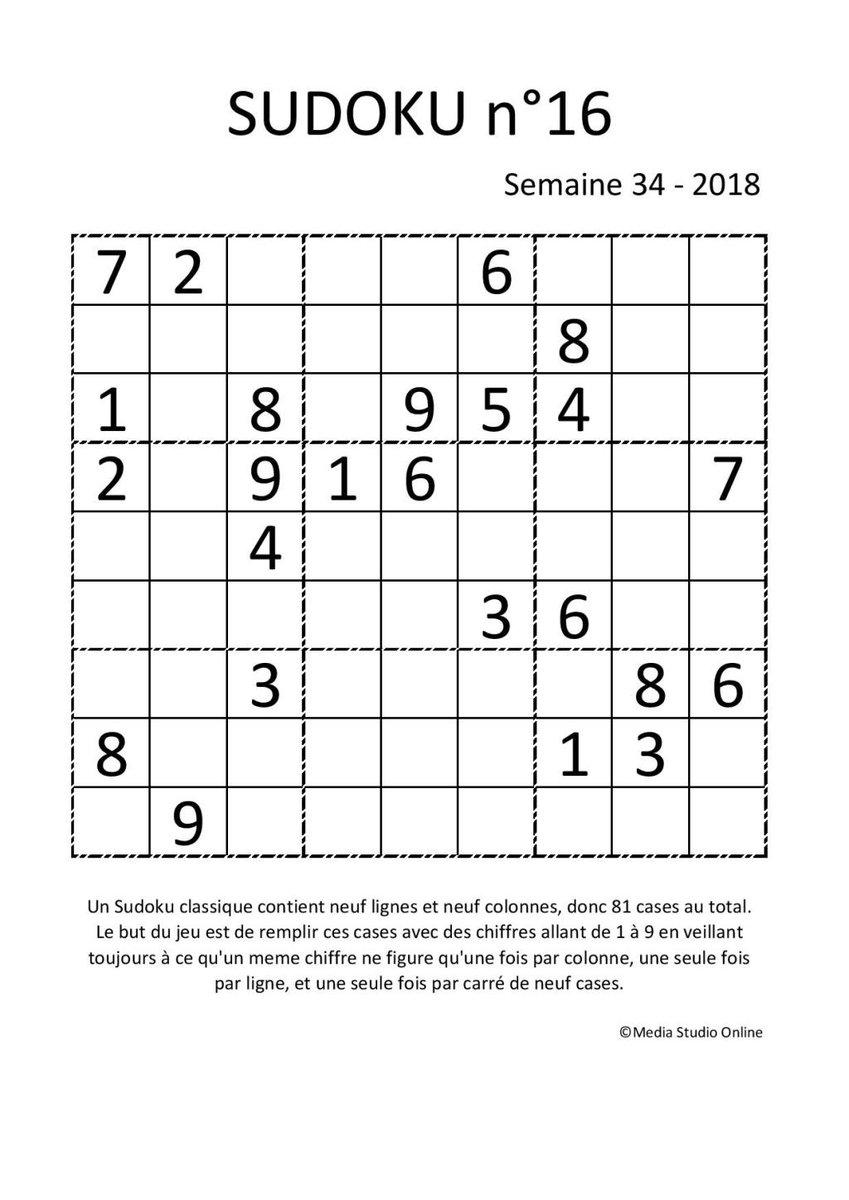 "Melanie Rollin On Twitter: ""sudoku N°16 – Semaine 34 – 2018 destiné Jeu Le Sudoku"
