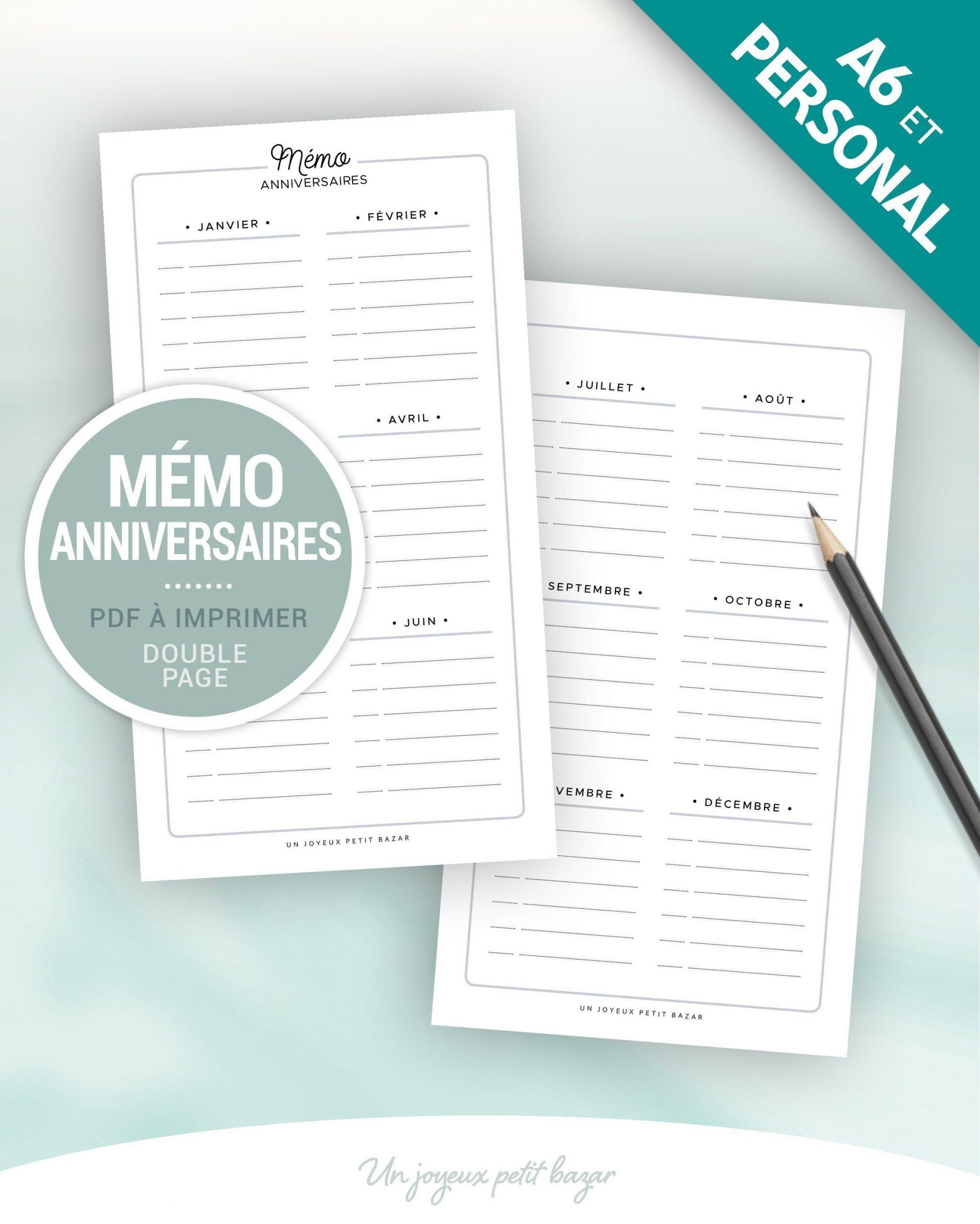Mémo Anniversaire À Imprimer Pour Planner Personal Ou A6, 1 serapportantà Calendrier Anniversaire À Imprimer