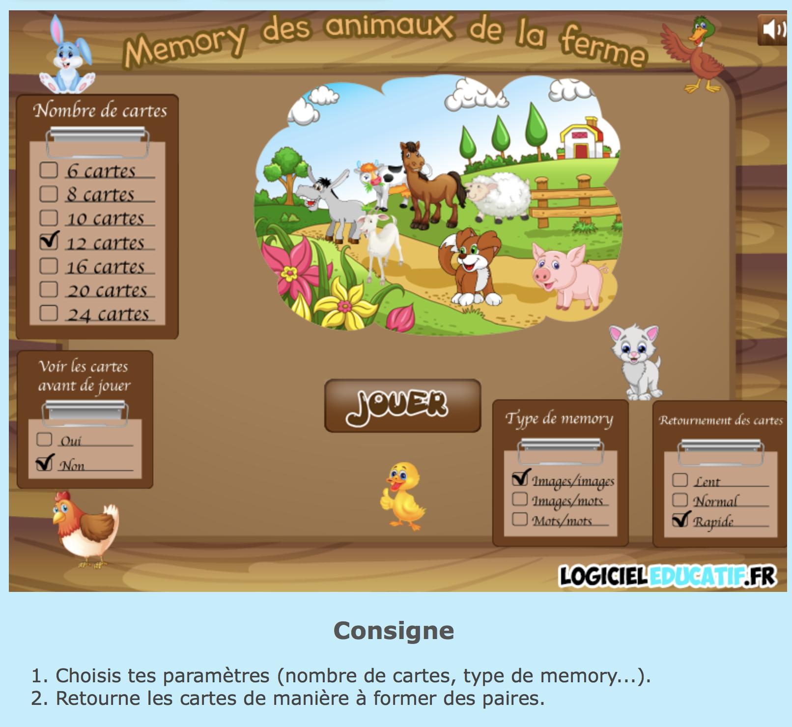 Memory Animaux De La Ferme | Bdrp concernant Jeux Les Animaux De La Ferme
