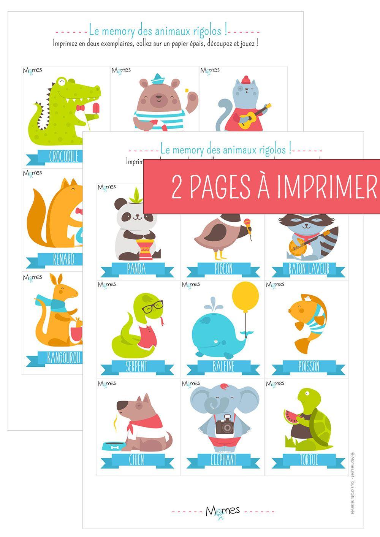 Memory Animaux - Jeu À Imprimer | Jeux A Imprimer, Jeux intérieur Jeux Educatif Gratuit Maternelle